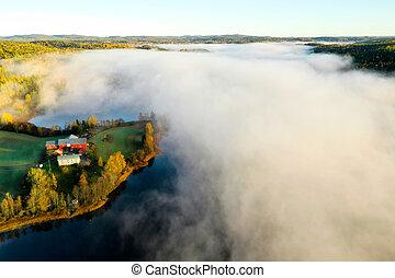 Fog on lake in Autumn