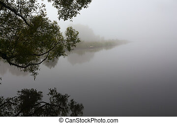 fog on the lake morning