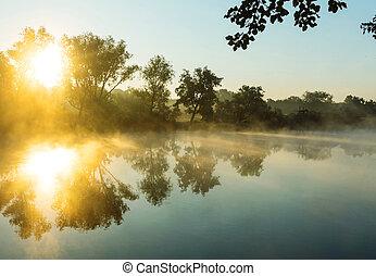 Fog on the river - Unusual river fog in summer season