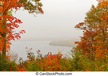 Fog over lake in Algonquin Park in Ontario, Canada.