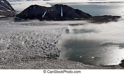 Fog over the Arctic glacier