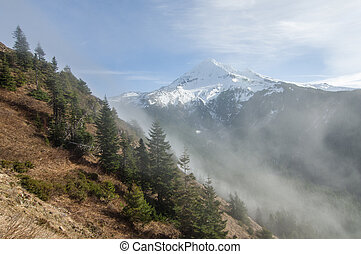 Fog rolling over the pass near Mt Hood - Fog rolling over ...