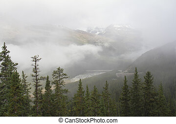 Fog-shrouded Mountain - Jasper National Park, Canada
