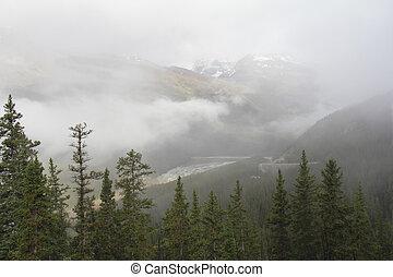 Fog-shrouded Mountain - Jasper National Park, Canada - Rocky...