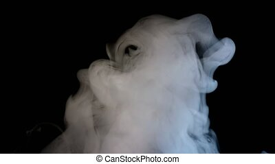 Fog Steam Smoke Isolated on Black Background - Smoky fog...