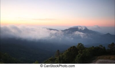 fog - Time lapse mountain in Fog at Doi Inthanon, Chiang...