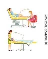 fogadószoba, lábápolás, kozmetikus, vektor, ásványvízforrás, folyamat