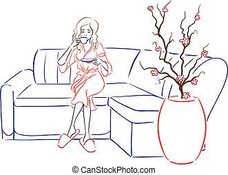 fogadószoba, nő, sorozat, után, -, tea, ásványvízforrás, iszik, spa-procedures