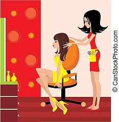 fogadószoba, nő, szépség