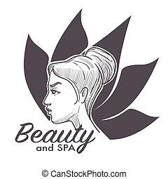 fogadószoba, nő, szépség, fesztelen, egészségesebb, ásványvízforrás, gyártás, folyamat
