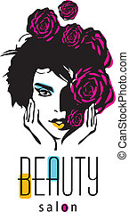 fogadószoba, nő, szépség, -, vektor, jel