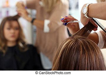 fogadószoba, szépség, hairstyle., fodrász