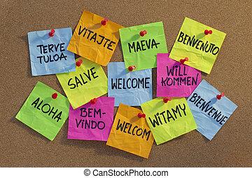 fogadtatás, willkommen, viszontlátásra, bienvenue, ...