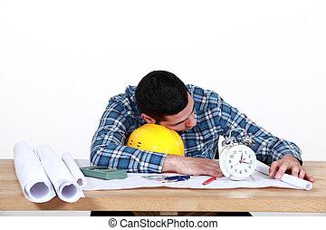 fogalmazó, alszik munka