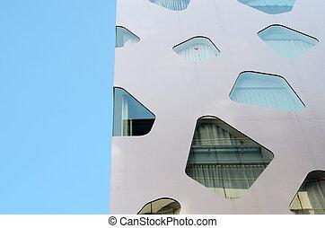 fogalmi, épület, üres, modern