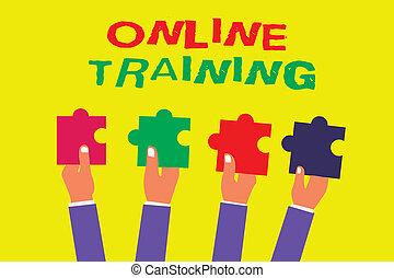 fogalmi, kezezés írás, kiállítás, online, training., ügy, fénykép, showcasing, fog, a, oktatás, program, alapján, a, elektronikus, erőforrások