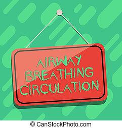 fogalmi, kezezés írás, kiállítás, szellőzőnyílás, lélegzés, circulation., ügy, fénykép, showcasing, emlékezőtehetség, segély, helyett, mentő, előadó, cpr, tiszta, függő, szín, ajtó, ablak, signage, noha, húr, és, tack.