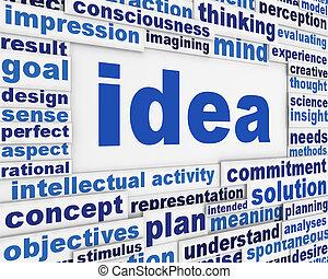 fogalmi, poszter, tervezés, gondolat
