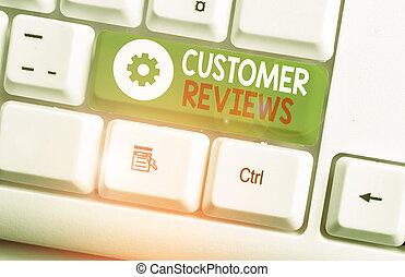 fogalmi, vagy, reviews., szöveg, szolgáltatás, aláír, áttekint, customer., kiállítás, fénykép, elkészített, termék, vásárló