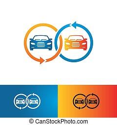 fogalom, ábra, kereskedelem, vektor, automotive jármű, autó, jel, bolt
