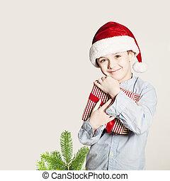 fogalom, átkarolás, tehetség, karácsony, box., gyermek, karácsony, boldogság, boldog