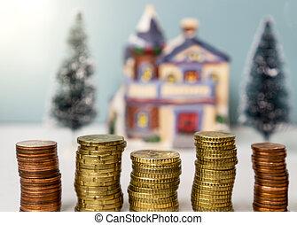fogalom, épület, érmek, kazal, háttér, ingatlan, befektetés