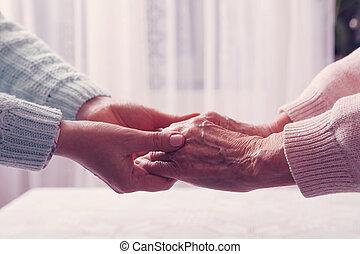 fogalom, öreg, hely, emberek, elderly., text., öregedő, disabled., -eik, nő, egészség, otthon, idősebb ember, caregiver, home., woman., törődik
