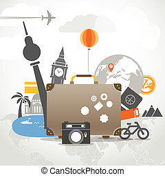 fogalom, öreg, szünidő, táska, utazó, zenemű