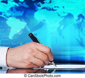 fogalom, ügy, businessman's, kéz, nemzetközi, pen.