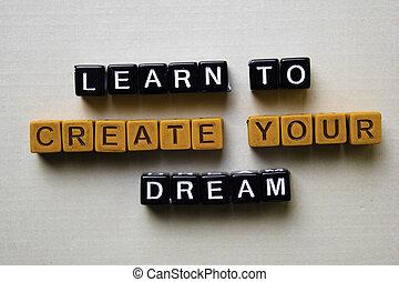 fogalom, ügy, fából való, alkot, blocks., tanul, álmodik, -e, ihlet
