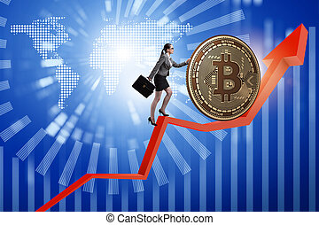fogalom, üzletasszony, rámenős, blockchain, bitcoin, cryptocurrency