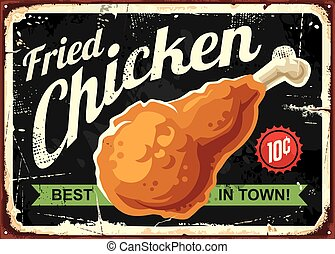 fogalom, aláír, tervezés, retro, csirke, sült