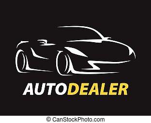 fogalom, autó, jármű, sport, supercar, autó, jel, silhouette., osztó