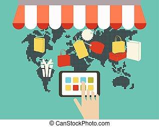 fogalom, bevásárlás, internet