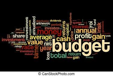 fogalom, címke, költségvetés, felhő