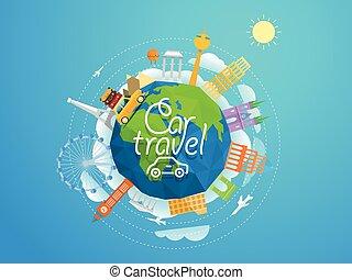fogalom, collection., signts, híres, körvonal, autó, világ, elvont, utazás