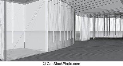 fogalom, construction., elvont, modern, -, építészet, építészeti, designing., 3