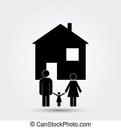 fogalom, család, épület, kép, alatt, elvont