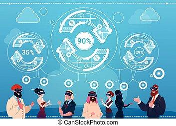 fogalom, csoport, pénzel, ügy emberek, korszerűsíteni, realitás, hord, nyíl, digitális, siker, szemüveg