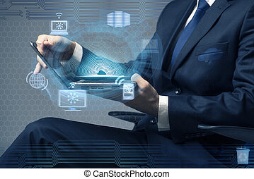 fogalom, dolgozó, kiszámít, laptop, üzletember, felhő