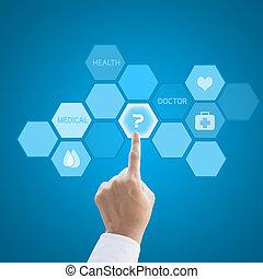 fogalom, dolgozó, orvos, orvosi, modern, kéz, orvosság,...