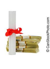 fogalom, dollárok, -, diploma, oktatás, drága