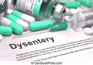 fogalom, dysentery., orvosi, -, életlen, háttér., diagnózis