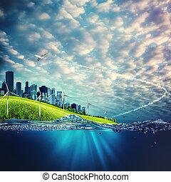 fogalom, eco, háttér, környezeti, tervezés, -e