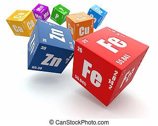 fogalom, elem, chemistry., periodic asztal, cubes.