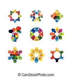 fogalom, emberek, ikonok, -, sol, gyűjtés, egység, vektor, karika