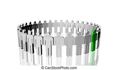 fogalom, emberek, vezetés, zöld white, circle., ikon