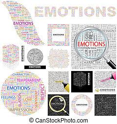 fogalom, emotions., illustration.