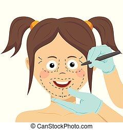 fogalom, face., műanyag, női, megjelöl, sebészet, rajz, sebész