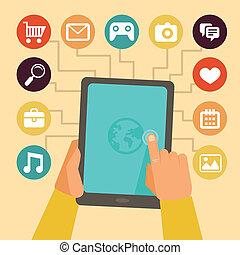 fogalom, fejleszt, mozgatható, app, -, vektor